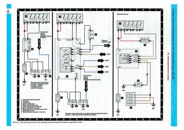 Оригинальная электропроводка Ауди 100: схема пуска двигателя и звуковых сигналов
