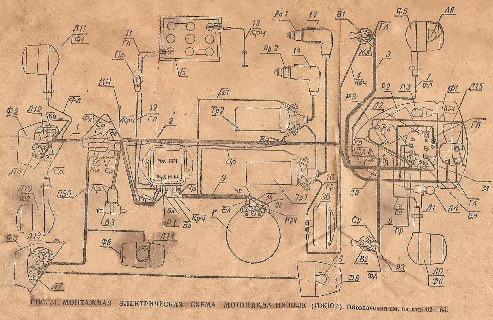 Схема электрооборудования мотоцикла иж планета
