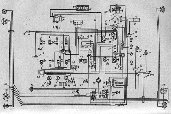 originalnaya shema provodki gaz 53 - Схема подключения амперметра газ 53