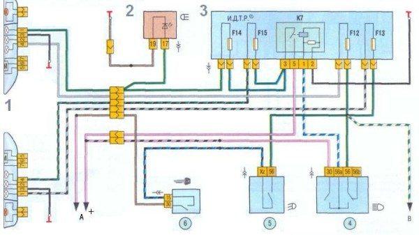 Оригинальная схема проводки Лада Калина передних блок-фар