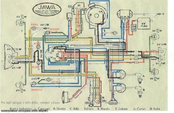 Оригинальная заводская схема электрооборудования Ява на 6 вольт