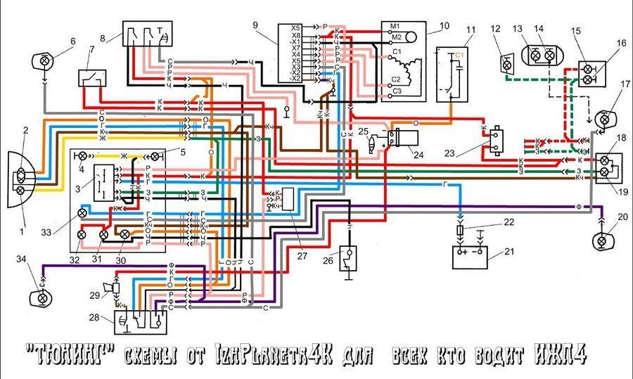 Схема проводки на мотоцикл иж фото 3