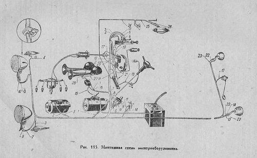 Принципиальная схема электрооборудования ГАЗ М1 образца 1939 года
