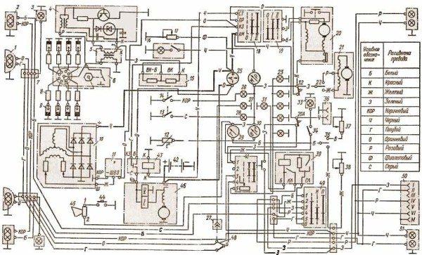 shema elektrooborudovaniya 600x363 - Схема подключения амперметра газ 53