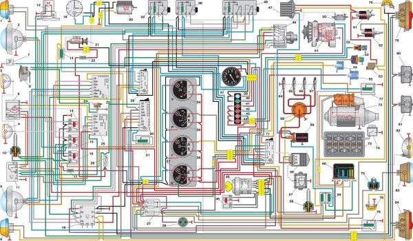 shema elektrooborudovaniya avtomobilya uaz osnaschaemogo mnogofunktsionalnym podrulevym pereklyuchat 600x350 - Электросхема уаз 220695 04
