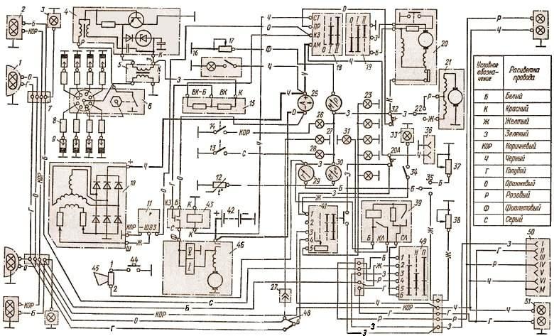 Схема электрооборудования газ 3307 цветная фото 707