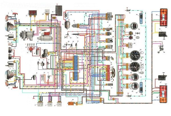 shema elektroprovodki vaz 2121 600x407 - Схема зарядки нива 2121