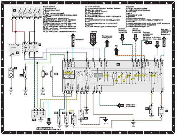Схема панели и осветительных приборов Ауди 100