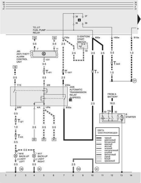 Схема проводки Ауди 80 с автоматической 4-х ступенчатой коробкой передач