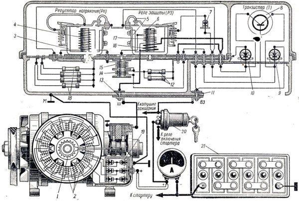 Схема проводки ГАЗ 3307: цепь включения генератора и регулятора напряжения
