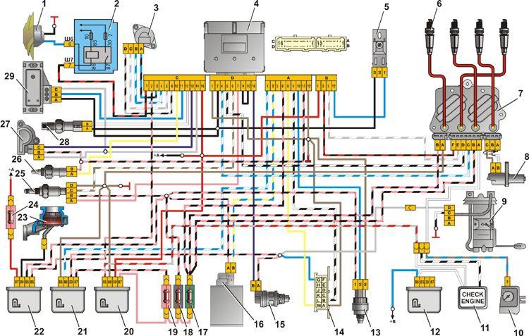 Схема подключения инжектора ваз 2107 фото 754