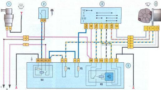 Штатная электропроводка Калина системы очистки лобового стекла