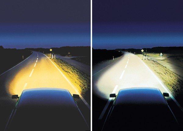 Сравнение освещения дороги галогенными и ксеноновыми лампами в темное время суток