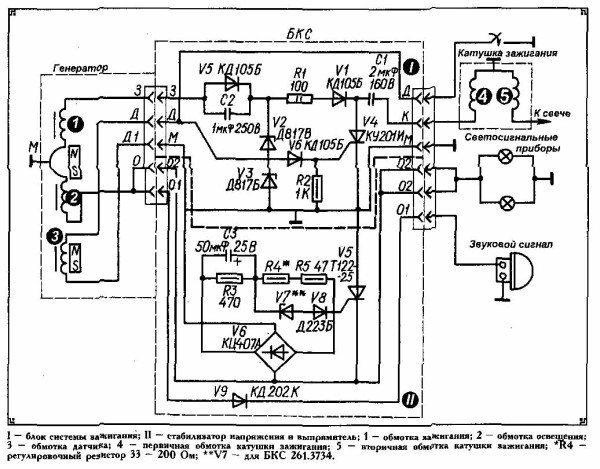 Заводская инструкция содержит оригинальную схему бесконтактной системы зажигания