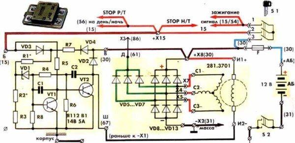Модернизированная схема проводки мотоцикла ИЖ Планета 5 с бесконтактным зажиганием