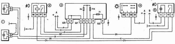 На фото - схема включения противотуманных фар ВАЗ 2110 с реле защиты ПТФ