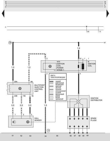 Оригинальная схема электрооборудования двигателя с системой Motronic