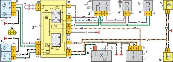 Принципиальная схема ближнего света на ВАЗ 2109 и подобных моделей