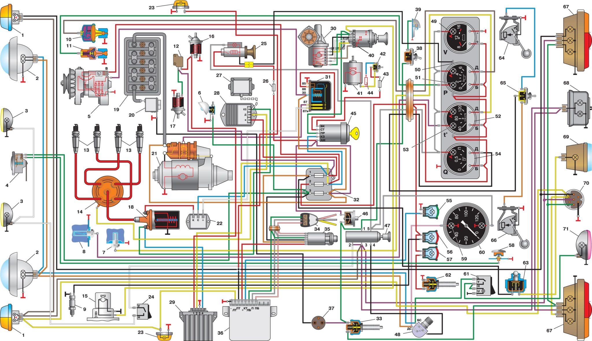Уаз 396255 схема электропроводки