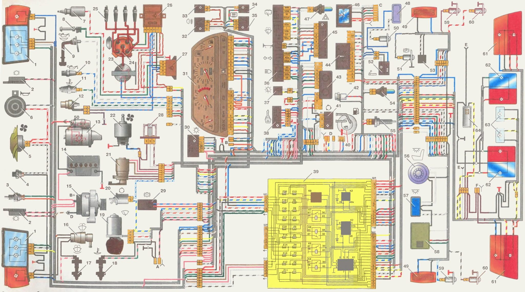 схема электропроводки 2110 эбу
