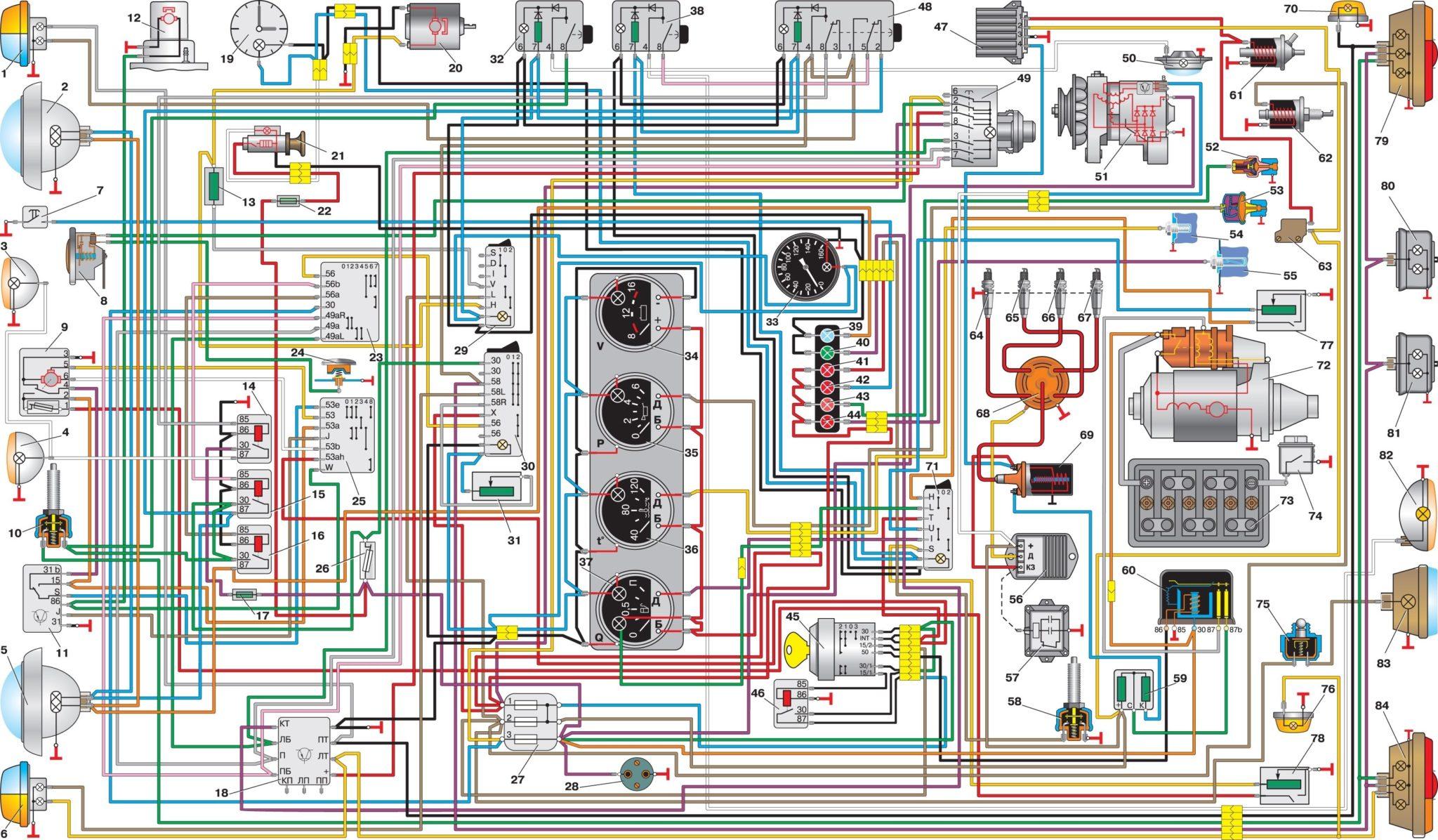 электро схема газ 3307 цветная