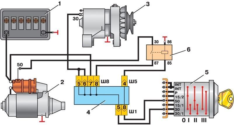Схема электропроводки для замка зажигания на ваз 2106