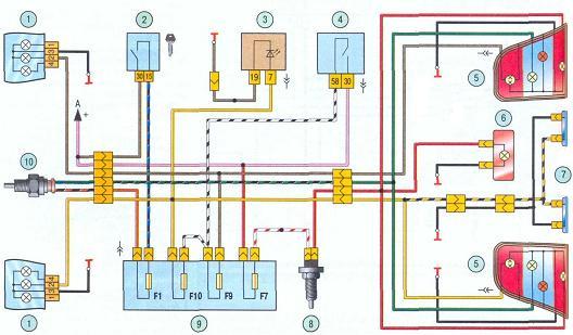 Ваз 2109 схема подключения птф