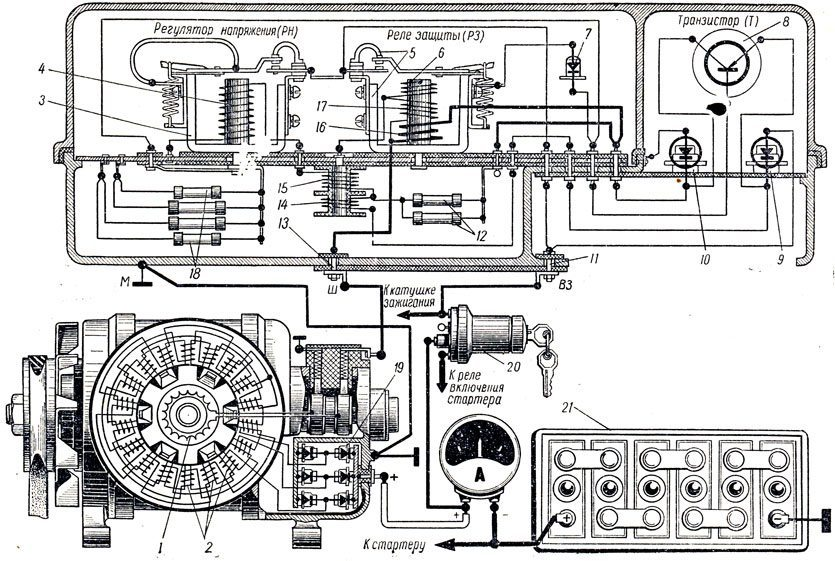 Схема проводки ГАЗ 3307: цепь