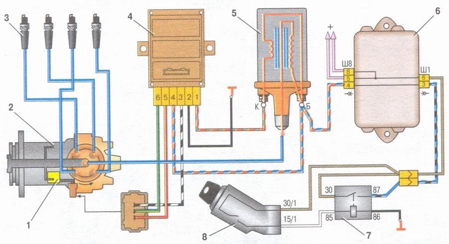 схема проводки ваз 2109 на
