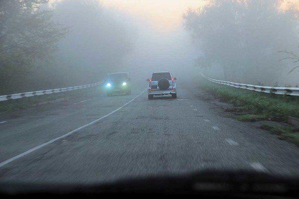 Сильный туман способен ограничить видимость даже в светлое время суток