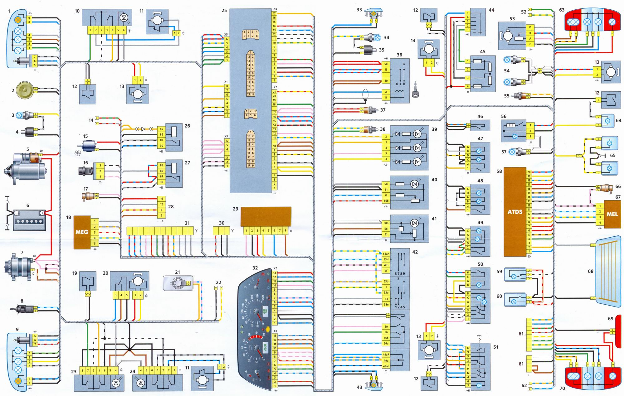 Схема электропроводки ВАЗ 2121, замена проводки своими